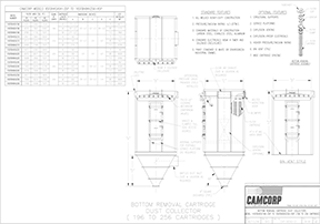 Bottom removal cartridge collector drawing for CAMCORP models 8SFBH45x64-35P to 16SFBH84x256-45P