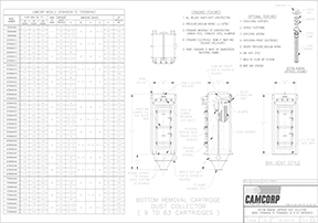 Bottom removal cartridge collector drawing for CAMCORP models 3SFBH45x9 to 7SFBH84x63
