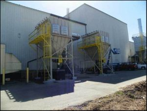 2 vertical cartridge CAM-AIRO models CA48-40 installed for dry powder dust collection