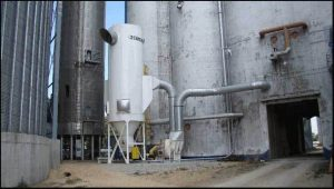 Installed medium pressure reverse air dust collector for grain dust