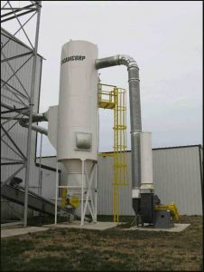 Installed low pressure reverse air dust collector collecting DDGS and soybean meal dust