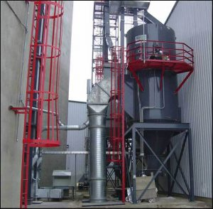 A low pressure reverse air dust collector collecting grain dust - 28,500 CFM