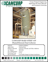 Read pleated bag element cartridge collector collecting calcium carbonate project profile