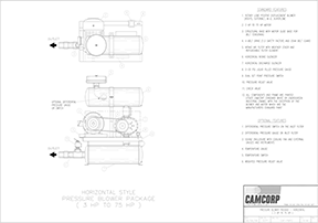 Drawing for a pressure blower package for 3 HP to 75 HP motor