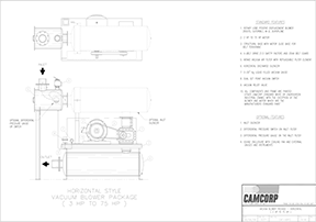 Drawing for a vacuum blower package for 3 HP to 75 HP motor
