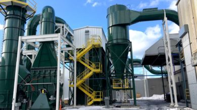 CAMCORP green painted pulse jet and cyclone dust collector