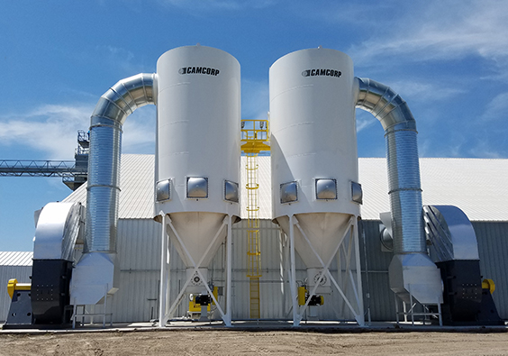 CAMCORP installed medium pressure reverse air dust collectors with explosion venting