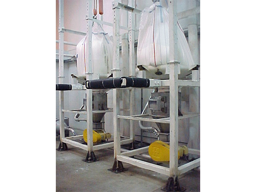 Two bulk bag unloaders with full 50 pound sacks