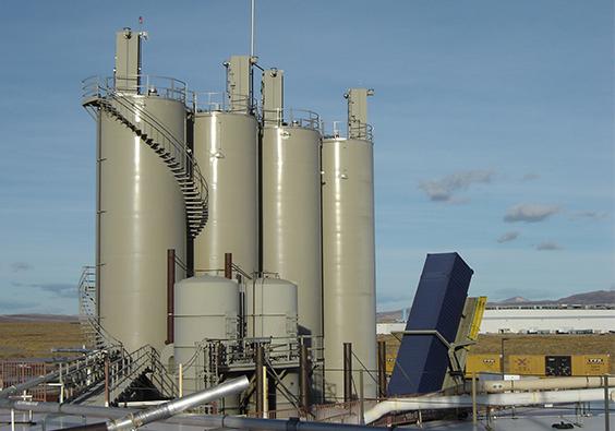 Four bulk storage silos