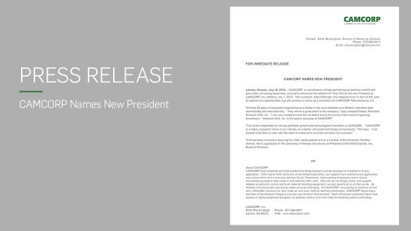 Read press release about CAMCORP new president Tony Thill