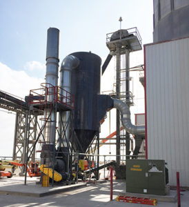 CAMCORP reverse air dust collector model 10HVP368 collecting corn dust at Ethanol facility