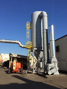 CAMCORP reverse air dust collector model 12HVP432 collecting sand dust at a foundry