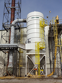 CAMCORP reverse air dust collector model 12HVP504 collecting DDGS at Ethanol plant