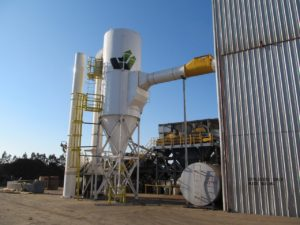 CAMCORP reverse air dust collector model 10HVP312 collecting auto shredder residue dust at recycling facility