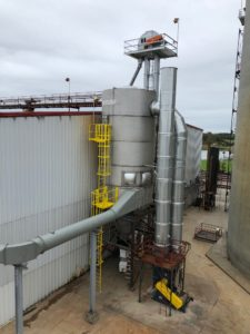 CAMCORP stainless steel reverse air dust collector model 10HVP504 collecting DDGS at Ethanol plant