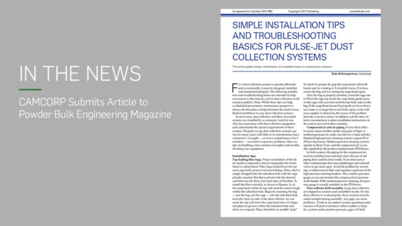 CAMCORP article Simple installation tips and troubleshooting basics for pulse jet DC systems