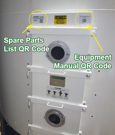 where to find CAMCORP QR code on equipment